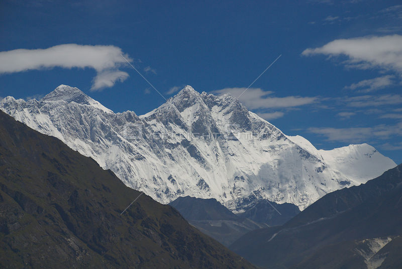 NEPAL Mount Everest -- Mount Everest (left), the highest peak in the world (at 8848 metres) dominates this image of the Lhotse Massif