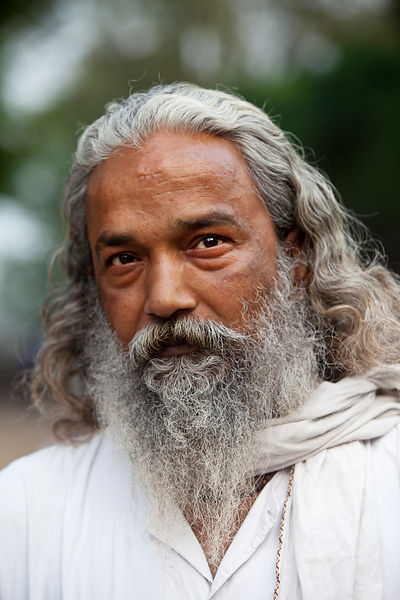 India - Chandannagar - A man with a fine beard and a remarkable resemblance to Rabindranath Tagore