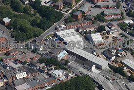 Stockport aerial photograph of an industrial area bounded by Waterloo road and Canal Street and Gorsey Mount Street Stockport