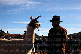 Aymara man with his llama during competition, Curahuara de Carangas, Bolivia