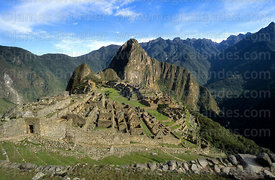 Panoramic view of Inca city of Machu Picchu, Huayna Picchu peak and Urubamba canyon, Peru