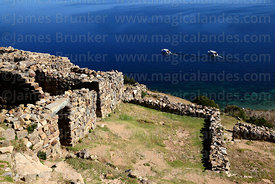 View over part of the Chincana Inca ruins, Sun Island, Lake Titicaca, Bolivia