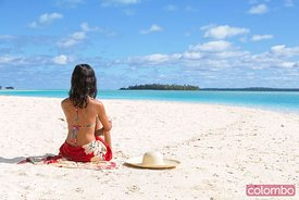 Beautiful girl on the beach, One foot island, Aitutaki, Cook Islands