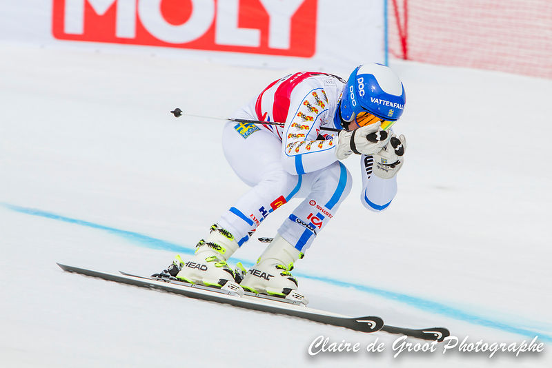 Swedish Matts Olsson tucks on his approach to the finish line in the men's Giant Slalom finals.