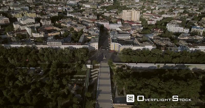 High level aerial camera flies towards the Potemkin Stairs showing the Odessa Skyline in the early morning light Ukraine