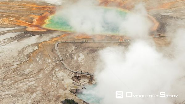 The deep rainbow colors of Grand Prismatic Spring in the Midway Geyser Basin, Yellowstone National Park