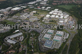 Warrington aerial photograph wide angle view of Birchwood Park