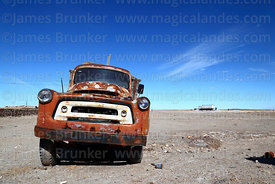 Abandoned vintage International Harvester truck on outskirts of Colchani, near Uyuni, Bolivia