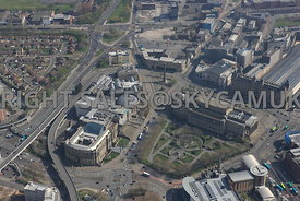 Liverpool high level view of St Johns Gardens World Museum Walker Art gallery and St Georges Hall