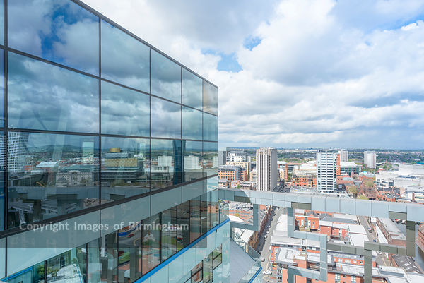 The Cube top floor balcony view, Birmingham.