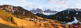 Panoramic sunset, Funes valley, Dolomites, Italy