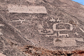 Detail of geoglyphs at Cerro Pintados , Region I , Chile