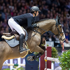 Bordeaux, France, 4.2.2018, Sport, Reitsport, Jumping International de Bordeaux - Grand Prix LAND ROVER .Trophée MAIRIE DE BORDEAUX. Bild zeigt Steve GUERDAT (SUI) riding Ulysse des Forets (5*)...4/02/18, Bordeaux, France, Sport, Equestrian sport Jumping International de Bordeaux - Grand Prix LAND ROVER .Trophée MAIRIE DE BORDEAUX. Image shows Steve GUERDAT (SUI) riding Ulysse des Forets (5*).