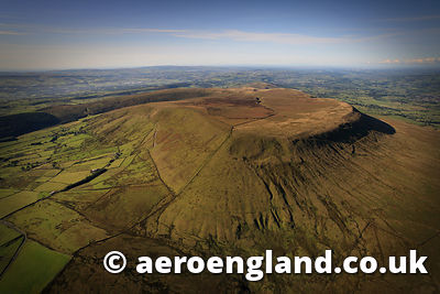 aerial photograph of Pendle Hill Lancashire England