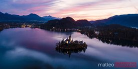 Aerial panoramic of lake Bled at dawn, Slovenia