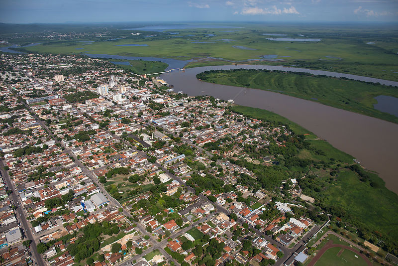 Aerial view of Corumba, at end of the dry season, with the Rio Paraguay or Paraguay river, Brazil. November 2017.