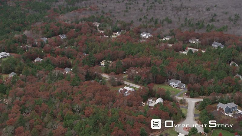Over Rural Residential Area Among Forest South of Norwood, Massachusetts. Shot in November