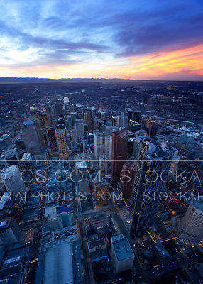 Calgary City Skyline at Dusk