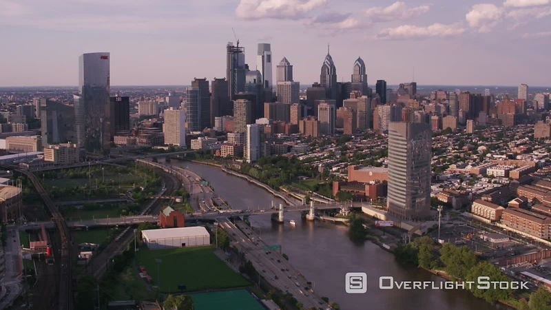 Philadelphia, Pennsylvania Aerial view of downtown Philadelphia with Schuylkill River in foreground.  Shot with Cineflex and RED EpicW Helium.