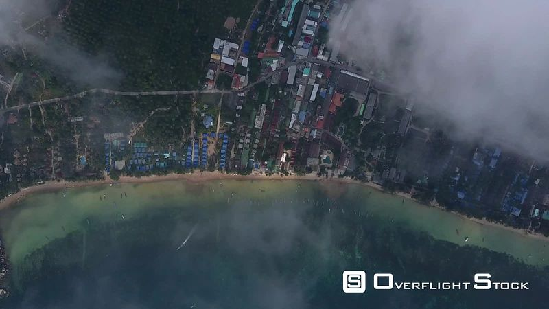 Top Down Drone Video through Clouds Ko Tao, Ko Phangan District, Surat Thani, Thailand