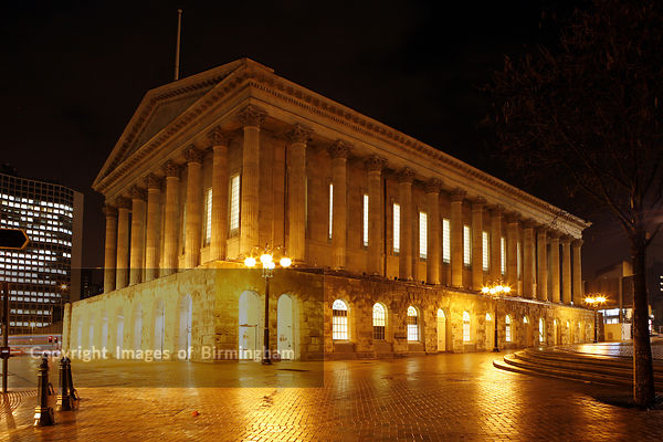 The Birmingham Town Hall located in Victoria Square, shown after its refurbishment.