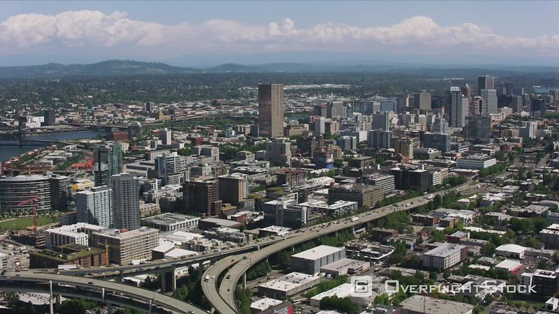 Portland, Oregon Daytime aerial shot of downtown Portland, Oregon buildings.  Shot with Cineflex and RED EpicW Helium.