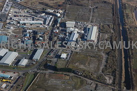 Widnes aerial photograph of the Saffil Ltd site Sullivan road and old disused Industrial waste land between the St Helens Canal and Moss Bank road