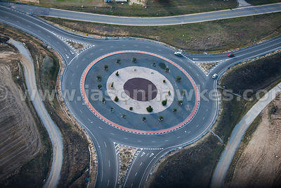 Aerial view of roundabout, Madrid, Spain
