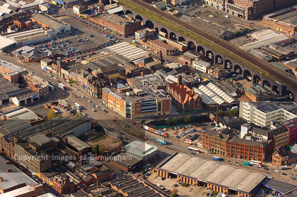 An aerial view of Birmingham showing Digbeth