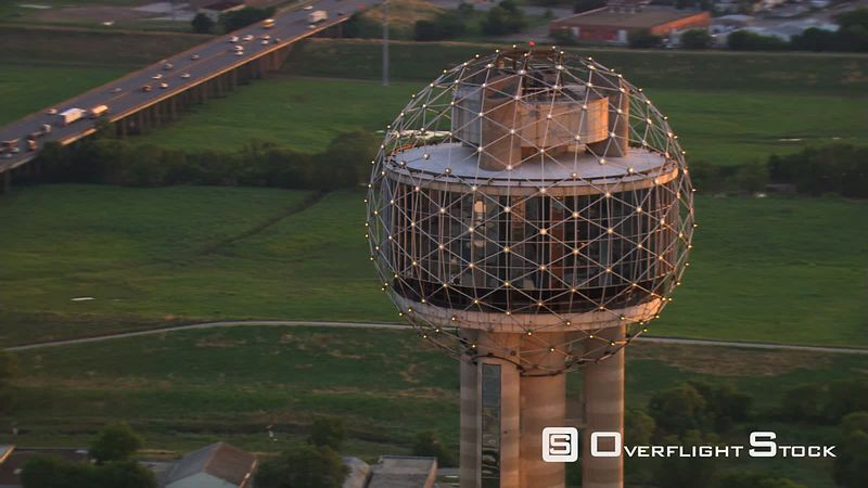 Orbiting Reunion Tower in Dallas, Texas