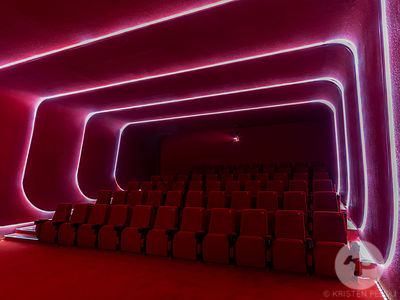 Retro futuristic cinema complex designed by Sybarite in SKP Xi'an in China.