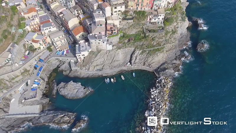Aerial view of Manarola homes and coastline. La Cinque Terre Italy