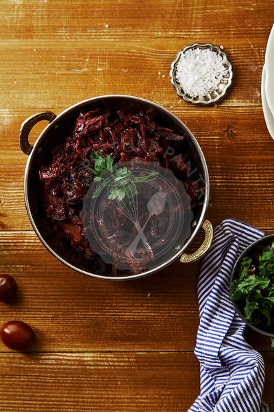 Red cabbage with beetroot braised in red wine sauce