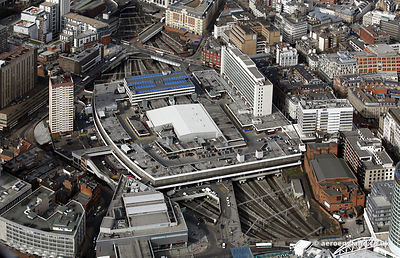 aerial photograph of Birmingham New Street railway station  Birmingham, West Midlands England UK