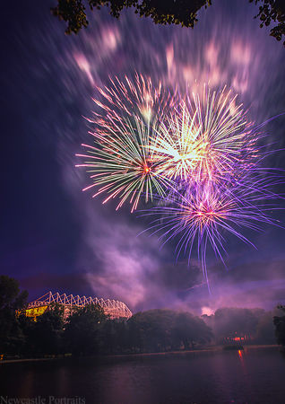 Fireworks over St James' Park