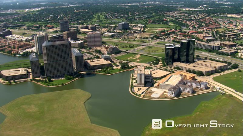 Flying over Las Colinas in a suburb of Dallas, Texas