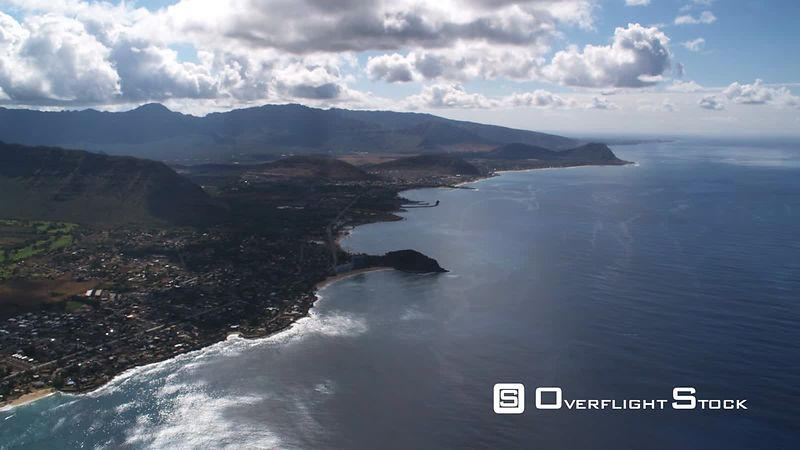 Flying along the western shore of Oahu.