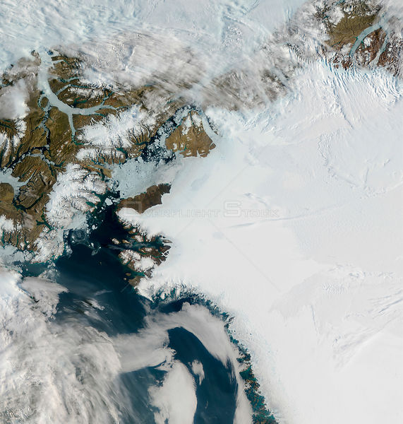 EARTH Greenland -- 16-17 Jul 2012 -- The Petermann Glacier (top centre left) on the sea along the northwestern coast of Greenland