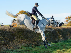 Holly Smith jumping a hedge at Barrowcliffe Farm 18/11
