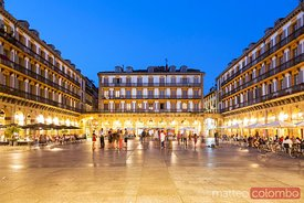 Plaza de la Constitucion at night, San Sebastian, Spain