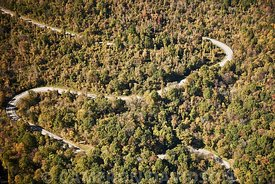 Aerial photogrpah of a Virginia Mountain Road