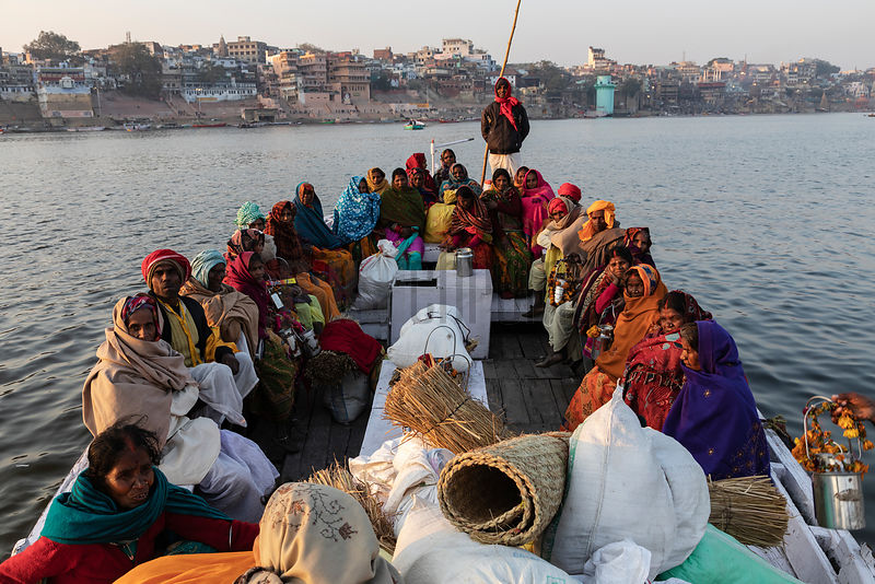 A Group of People from Bihar Crossing the Ganges after Taking a Holy Dip