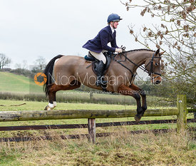 Nicola Wilson jumping a hunt jump near Knossington. The Cottesmore Hunt at Newbold Farm 16/2