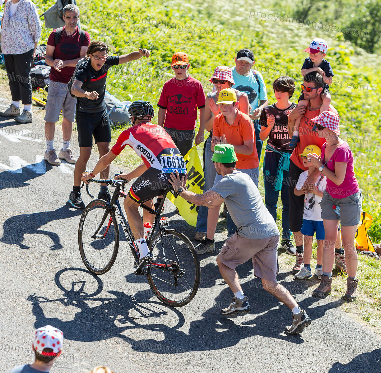 Spectator Pushing a Cyclist - Tour de France 2016