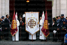 Members of the Order of Knights of the Holy Sepulchre in La Merced church entrance at start of Good Friday procession, La Paz, Bolivia