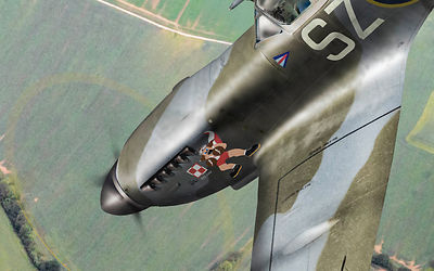 Dive bombing Spitfire (detail)
