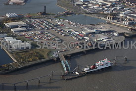 Birkenhead aerial photograph of the Mersey Dock and Harbour Company Ro Ro ferry terminal Birkenhead docks