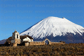 Rustic church near Lagunas and Parinacota volcano, Sajama National Park, Bolivia