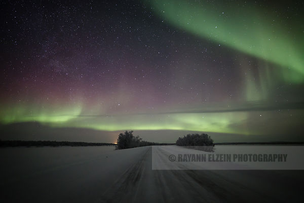 Northern Lights above the road