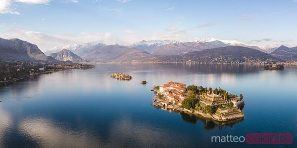 Panoramic sunset over Borromee islands, Lake Maggiore, Italy